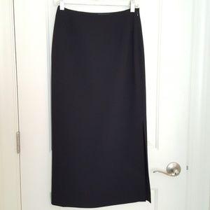 Ann Taylor 4P long black skirt w high slit on left
